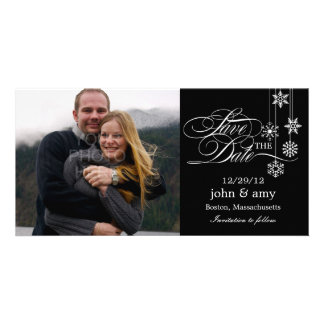 Hanging Snowflakes Save The Date Card - Black Personalized Photo Card