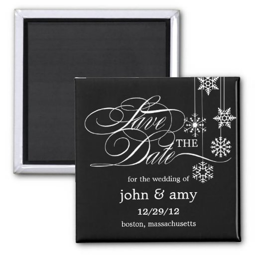 Hanging Snowflakes Save The Date Magnet Fridge Magnets