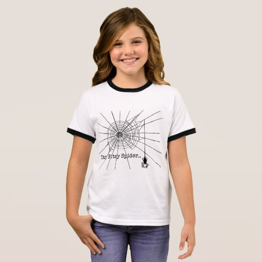 Hanging Spider in a web Gothic Halloween Ringer T-Shirt