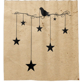 Hanging Stars And Crow Shower Curtain