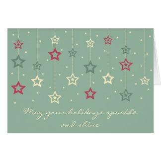 Hanging Stars Card aqua