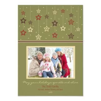Hanging Stars Holiday Card (olive) Custom Invite
