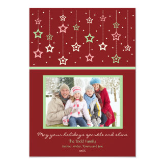 Hanging Stars Holiday Card (red) Invite