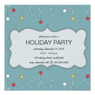 Hanging stars holiday party invitations