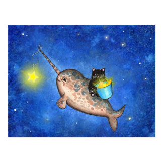 Hanging Stars with a Friendly Narwhal Post Cards