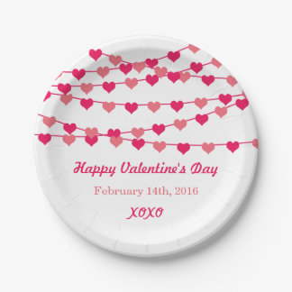 Hanging String Love Hearts Happy Valentine's Day 7 Inch Paper Plate