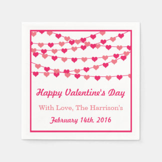 Hanging String Love Hearts Happy Valentine's Day Disposable Napkin