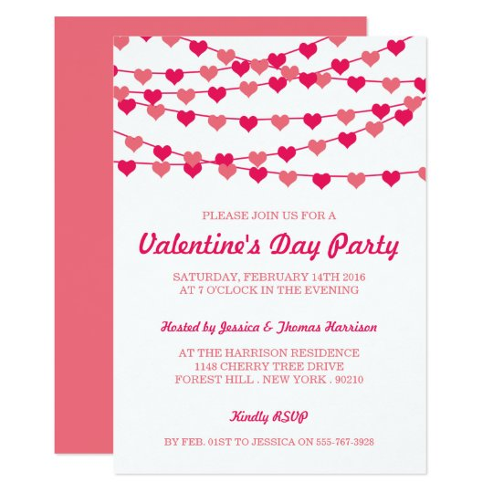 Hanging String Love Hearts Valentine S Day Party Invitation