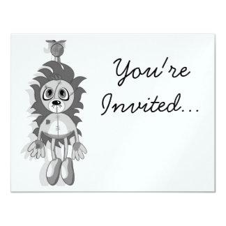 Hanging Teddy Grey Black & White 4.25x5.5 Paper Invitation Card