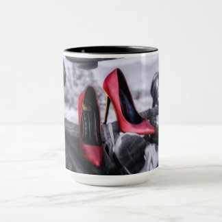 Hanging with Friends red high heels in shoe tree Mug