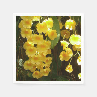 Hanging Yellow Orchids Tropical Flowers Disposable Serviette