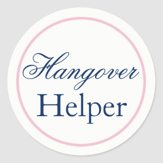 """Hangover Helper"" Wedding Sticker Blush Pink/Navy"