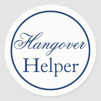 """Hangover Helper"" Wedding Sticker - Navy"