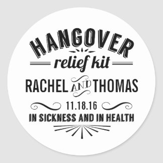 Hangover Relief Kit | Apothecary Wedding Favor Round Sticker