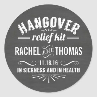 Hangover Relief Kit | Chalkboard Wedding Favor Round Sticker