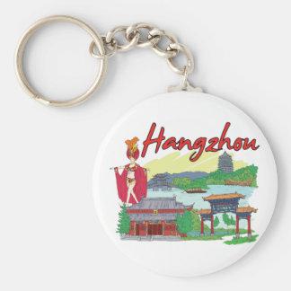 Hangzhou, China Famous City Basic Round Button Key Ring