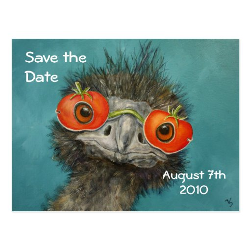 Hank (emu with tomato mask) save the date postcard