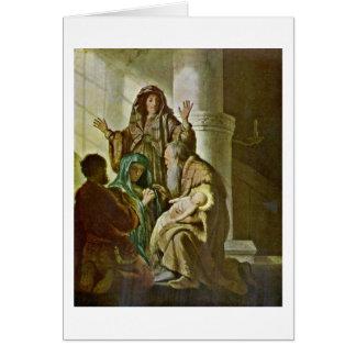 Hannah And Simeon At Temple By Rembrandt Van Rijn Card