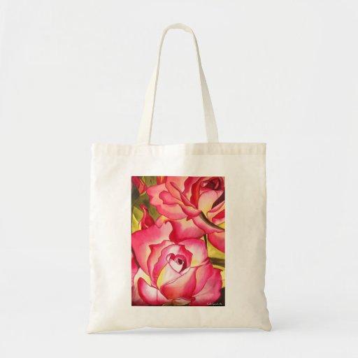 Hannah Gordon pink rose watercolor art Canvas Bag