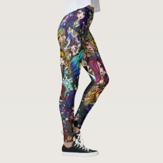 Hannah Lynn Fantasy Art Mermaid Fairies Collage Leggings