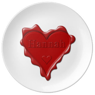 Hannah. Red heart wax seal with name Hannah Plate