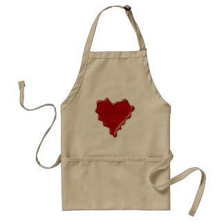 Hannah. Red heart wax seal with name Hannah Standard Apron
