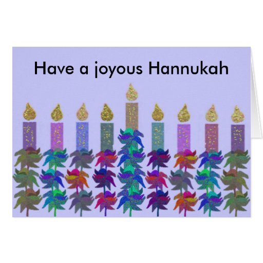 Hannukah Flower Menorah Cards