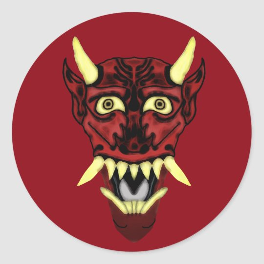 hannya demon mask classic round sticker