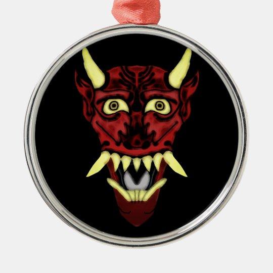 hannya demon mask metal ornament