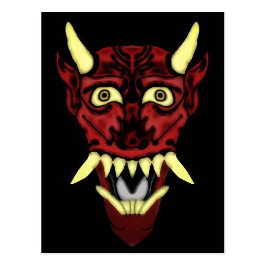 hannya demon mask postcard