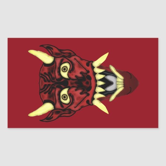 hannya demon mask rectangular sticker