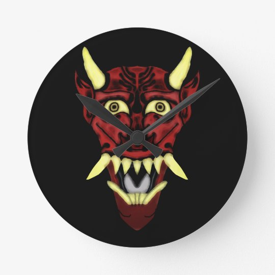 hannya demon mask round clock