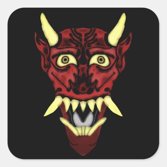 hannya demon mask square sticker