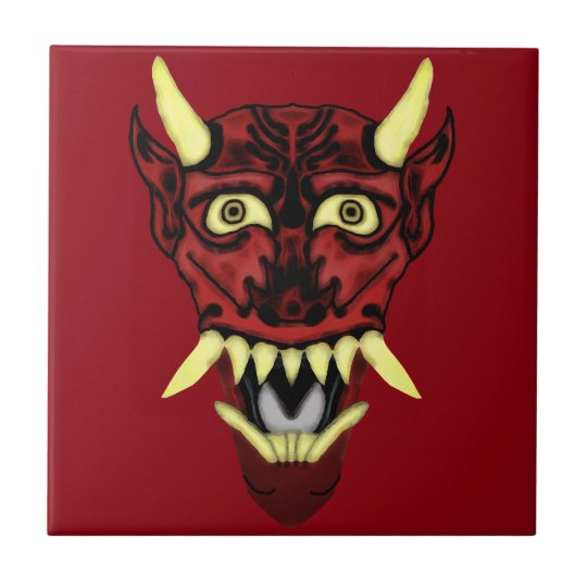 hannya demon mask tile