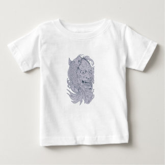 Hannya Mask and Koi Fish Drawing Baby T-Shirt