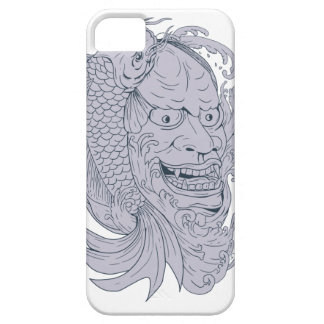 Hannya Mask and Koi Fish Drawing Barely There iPhone 5 Case