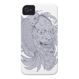 Hannya Mask and Koi Fish Drawing iPhone 4 Cases