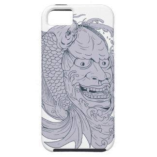 Hannya Mask and Koi Fish Drawing iPhone 5 Case