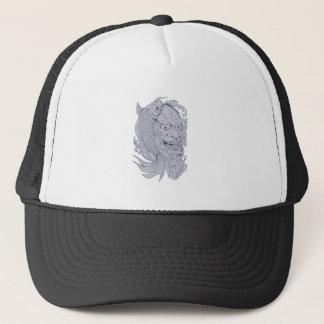 Hannya Mask and Koi Fish Drawing Trucker Hat