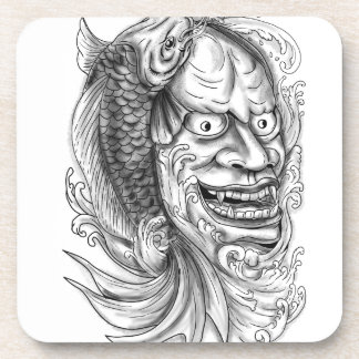 Hannya Mask Koi Fish Cascading Water Tattoo Coaster
