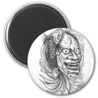 Hannya Mask Koi Fish Cascading Water Tattoo Magnet