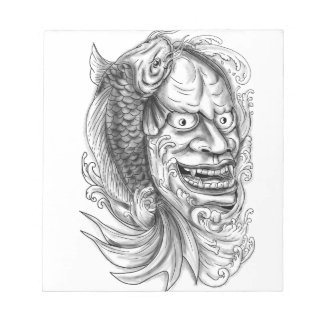Hannya Mask Koi Fish Cascading Water Tattoo Notepad