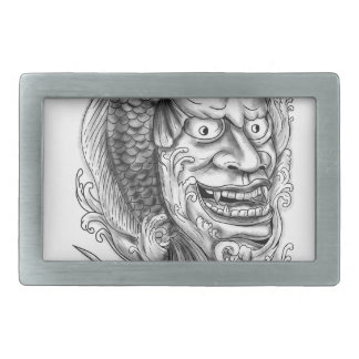 Hannya Mask Koi Fish Cascading Water Tattoo Rectangular Belt Buckles