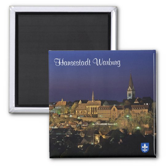 Hanseatic city Warburg at night Magnet