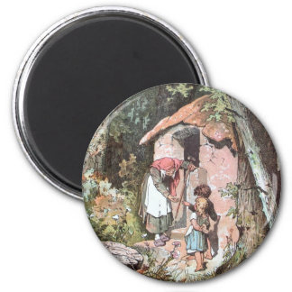 Hansel and Gretel and the Witch at the Door Fridge Magnet