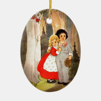 Hansel and Gretel at Forest's Edge Ceramic Ornament