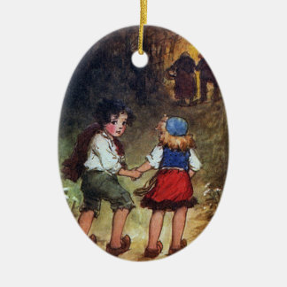Hansel and Gretel Head Into the Woods Ceramic Ornament
