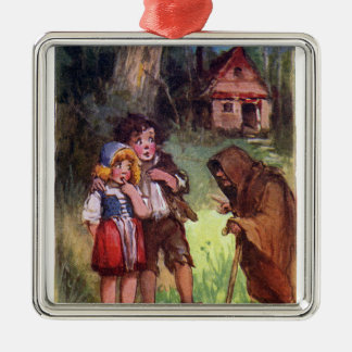 Hansel and Gretel Meet the Witch Metal Ornament