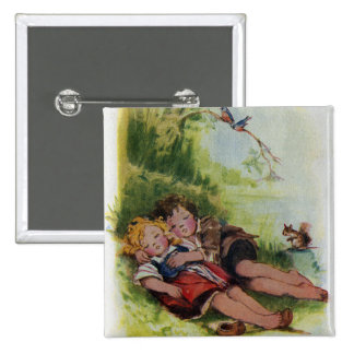 Hansel and Gretel Sleeping in the Woods 15 Cm Square Badge