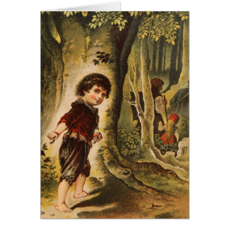 Hansel Entering the Woods with Breadcrumbs Greeting Card